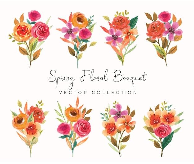 Set di bouquet floreale acquerello autunnale