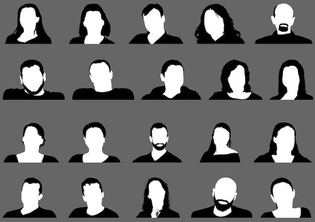 Set di icone dell'immagine del profilo avatar tra cui maschio e femmina su sfondo grigio