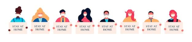 Set di avatar con maschere mediche sul viso e cartelli in mano