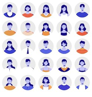 Set di avatar persone creative