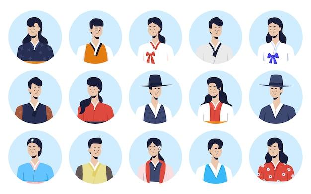Set di avatar coreano che indossa hanbok