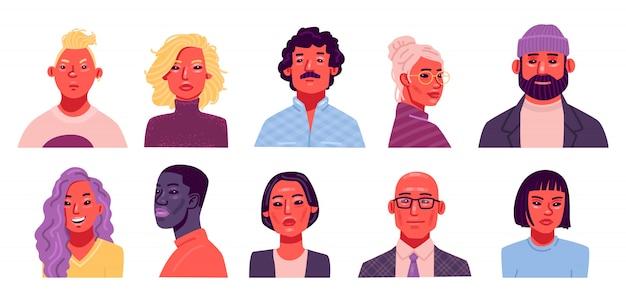 Set di avatar di persone. una raccolta di ritratti di uomini e donne di diverse nazionalità ed età. illustrazione vettoriale in uno stile piatto