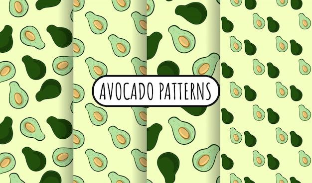 Insieme di modelli senza cuciture di scarabocchi di avocado. intero avocado e mezza verdura tagliata su fondo verde. collezione di piastrelle di carta da parati consistenza vegan stock