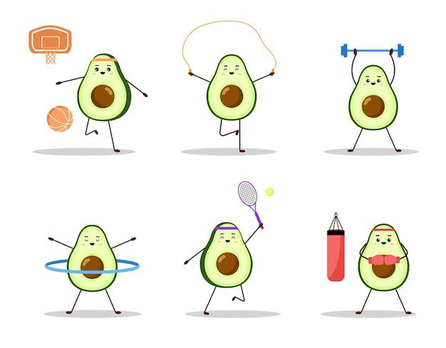 Set di avocado sport - boxe, tennis, basket. design del personaggio di avocado su sfondo bianco.