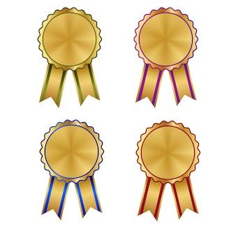 Set di rosette premio e medaglia araldica in oro
