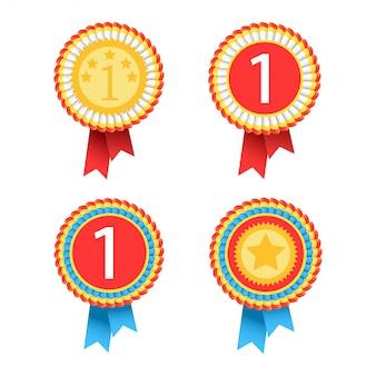 Una serie di medaglioni premiati.