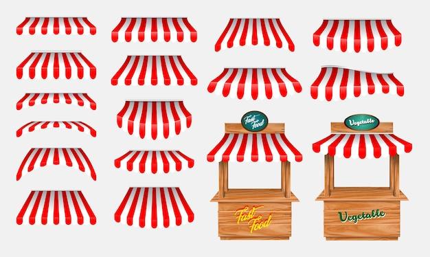 Set di tende con bancarella in legno e vari chioschi con tenda a strisce rosse e bianche iso