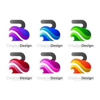 Imposta il logo b con combinazione di design a onde, stile colorato
