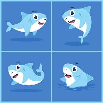 Insieme del concetto di design piatto dell'illustrazione del fumetto del carattere dello squalo del bambino Vettore Premium
