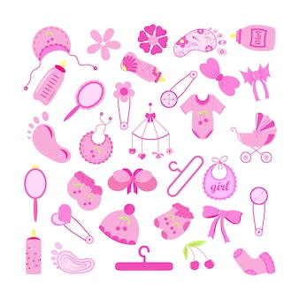 Insieme degli elementi della doccia di bambino su fondo bianco. illustrazione