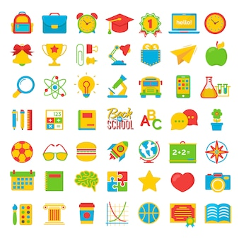 Set di ritorno a scuola e istruzione colot icone piane materiale scolastico