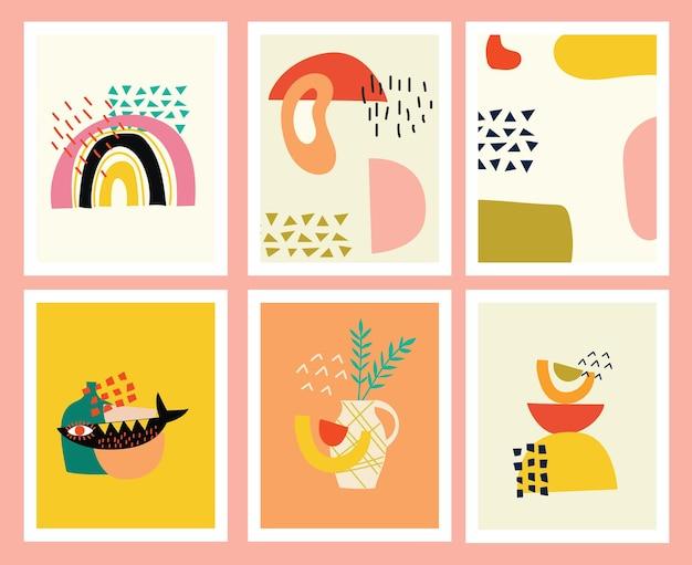 Set di sfondi con varie forme disegnate a mano e oggetti scarabocchiati. illustrazione vettoriale alla moda moderna contemporanea astratta.