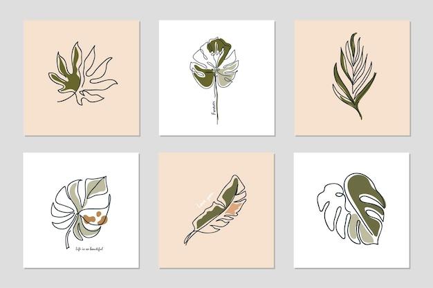 Set di sfondi con una linea continua foglie e frasi collage astratto con forme geometriche