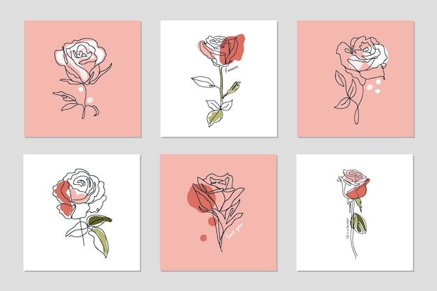 Set di sfondi con una linea continua di rose e frasi collage astratto con forme geometriche