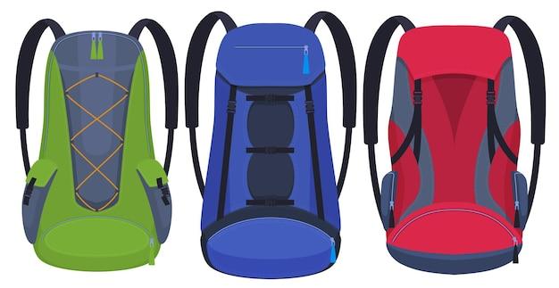 Set di zaini per escursionismo, diverse forme e colori di zaini.