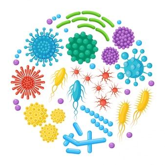 Set di batteri, microbi, virus, germi. oggetto patogeno isolato