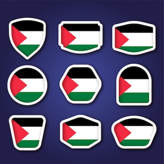 Set di badge con la bandiera della palestina