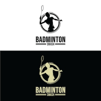Set di disegni di logo di badminton smashsport invernali. progettazione del modello di logo di snowboard