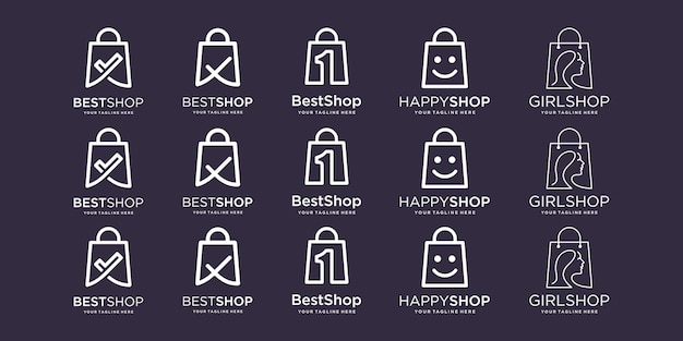 Set di borse logo design illustrazione del modello segno di spunta una faccia felice testa bellezza