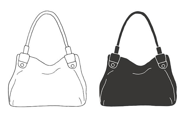 Set di borse. borse isolate su sfondo bianco. illustrazione di vettore nello stile di abbozzo.