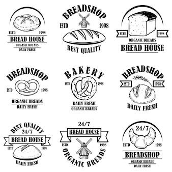 Set di panetteria, emblemi del negozio di pane. elemento di design per logo, etichetta, segno, banner, poster.