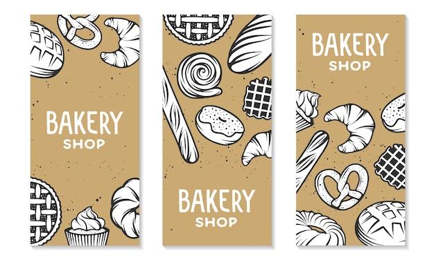 Set di elementi incisi da forno. design tipografico con pane, pasticceria, torta, focacce, dolci, cupcake.