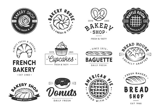 Set di etichette da forno, distintivi, emblemi e logo