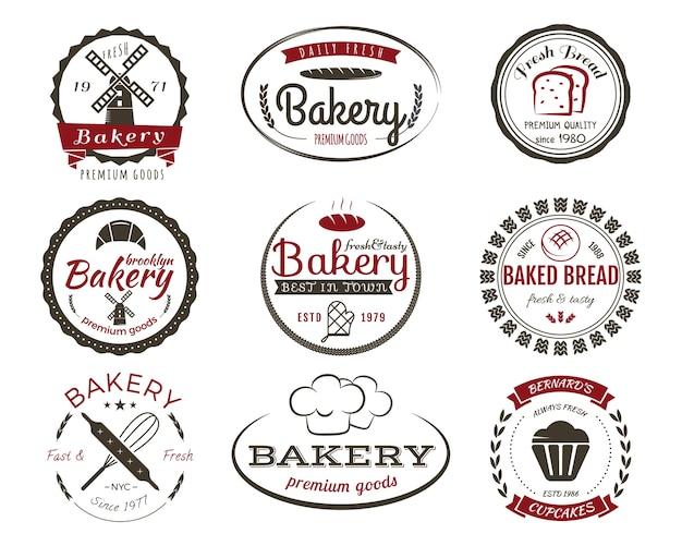 Set di etichette da forno, cuocere distintivi ed elementi di design, simboli di dolci. pane fresco, modelli di logo di torte. 2 colori in stile vintage.
