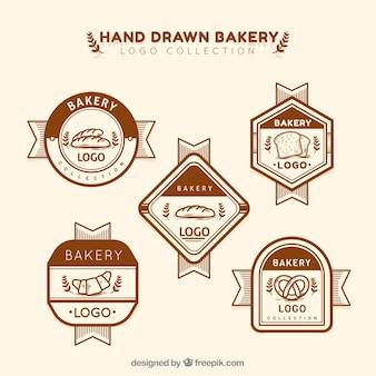 Set di loghi da forno in stile disegnato a mano