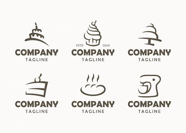Set di loghi di panetteria, etichette, badge ed elementi di design