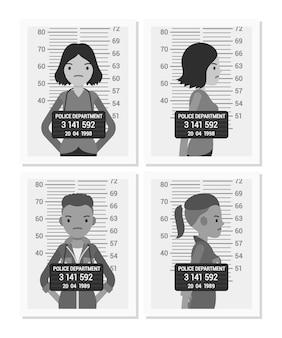Set di foto segnaletiche femminile bianco e nero