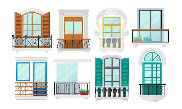 Set di balconi con finestre con persiane in legno e balaustre in metallo forgiato o in marmo. decorazione esterna di architettura classica della costruzione