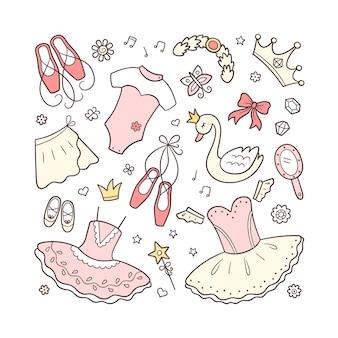Set di accessori per balletto per piccola ballerina. tutu disegnato a mano, punta, vestito da balletto, cigno, corona. illustrazione isolato su sfondo bianco