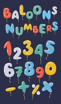 Set di numeri a forma di palloncino