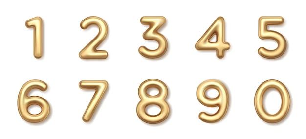 Serie di palloncini numeri isolati su bianco