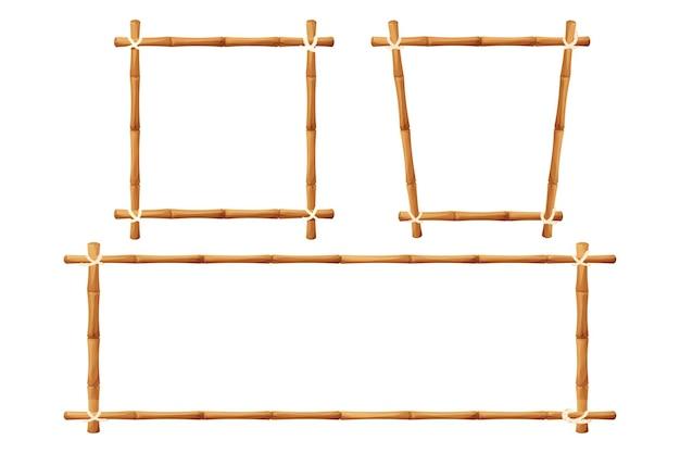 Set di cornici di bambù in stile cartone animato isolato su bianco
