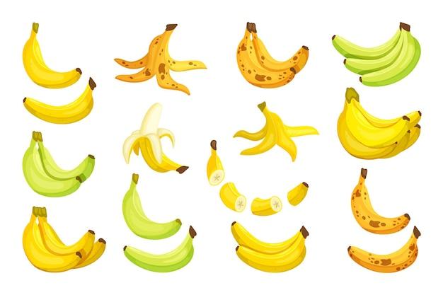 Metti le banane. banane mature dolci grappolo separato verde maturato giallo troppo maturo con spot intero affettato sbucciato