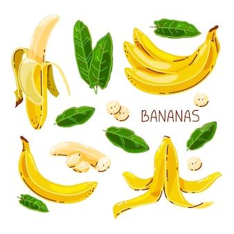 Set di banane su uno sfondo bianco isolato.