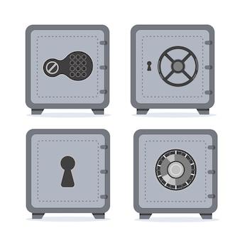 Set di cassette di sicurezza bancarie. cassaforte chiusa. risparmio di denaro in sicurezza e protezione del denaro.