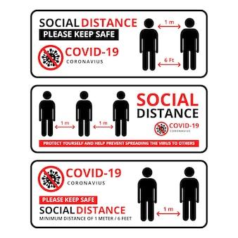 Set di modelli di banner per il social distanza