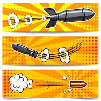 Set di modelli di banner con bomba in stile fumetto, proiettile. elemento per poster, carta, flyer. immagine