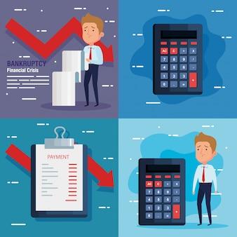 Impostare banner fallimento crisi finanziaria, con le icone