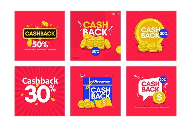 Impostare banner cashback modello di progettazione.
