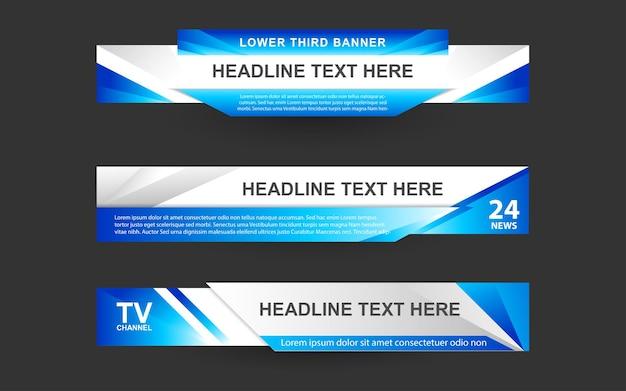 Imposta banner e terzi inferiori per il canale di notizie con colore blu e bianco
