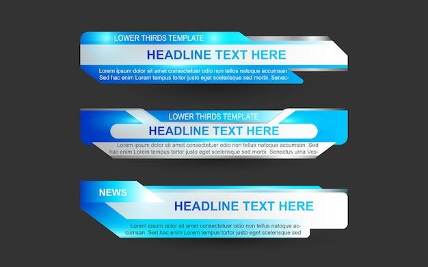 Imposta banner e terzi inferiori per il canale di notizie con il colore blu e bianco