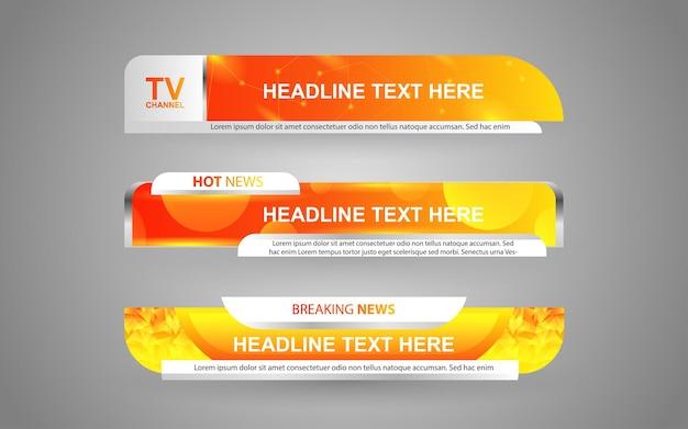 Imposta banner e terzi inferiori per il canale di notizie con colore arancione e bianco