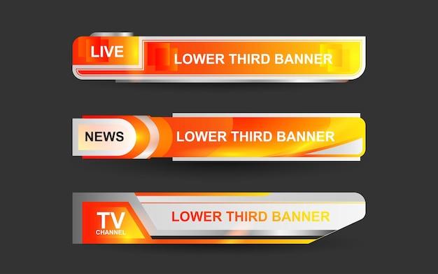 Imposta banner e terzi inferiori per il canale di notizie con il colore arancione e bianco