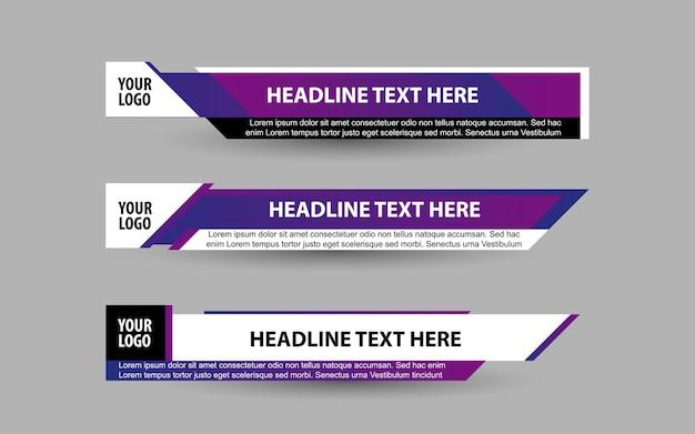 Imposta banner e terzi inferiori per il canale di notizie con il colore viola e bianco
