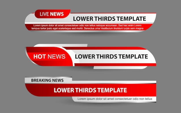 Imposta banner e terzi inferiori per il canale di notizie con il colore rosso e bianco