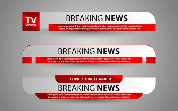 Imposta banner e terzi inferiori per il canale di notizie con colore bianco e rosso
